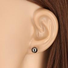 14K sárga arany fülbevaló - hematit szürkés fekete golyó