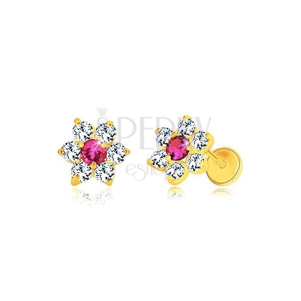585 sárga arany fülbevaló -virág alakzat, piros rubin cirkóniával középen, stekkeres