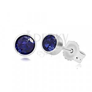 585 fehér arany fülbevaló - kék zafír cirkónia, 4 mm