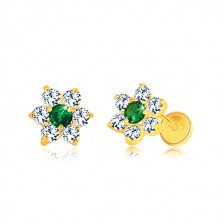 585 arany fülbevaló - cirkónia virág, középen smaragd zöld cirkóniával, stekkeres
