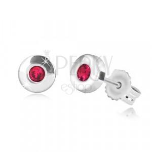 375 fehér arany fülbevaló - fényes kör természetes rubinnal, 4,5 mm