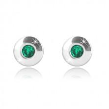 9k fehér arany fülbevaló - fényes kör smaragdzöld cirkóniával, 4,5 mm