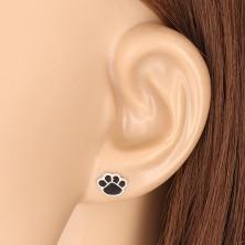 925 ezüst fülbevaló - tappancs motívum fekete fénymázzal