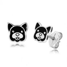 925 ezüst fülbevaló - kutyafej fekete fénymázzal, stekkerek