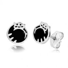 925 ezüst fülbevaló - macska összegömbölyödve, fekete fénymáz, stekkerek