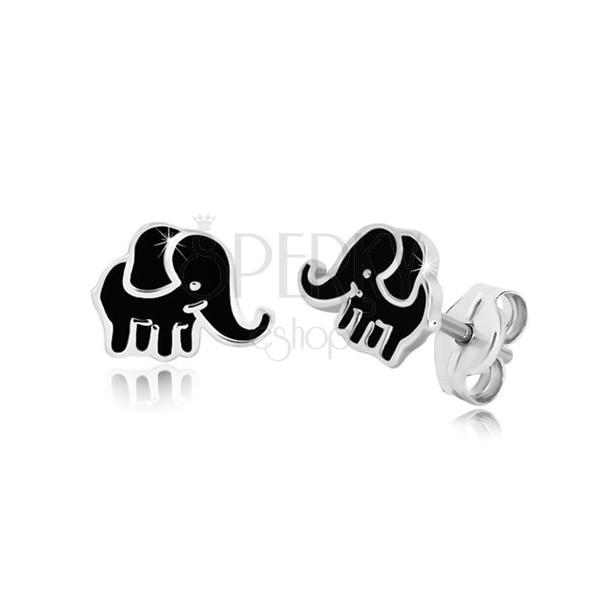925 ezüst fülbevaló, stekkeres - elefánt alakzat, fekete fénymázzal