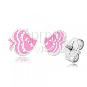 925 ezüst fülbevaló - hal alakzat rózsaszín fénymázzal