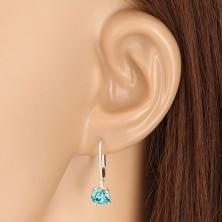 925 ezüst fülbevaló - csillogó akvamarinkék cirkónia, patentos zárszerkezet