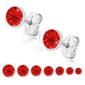 925 ezüst fülbevaló - ragyogó piros cirkónia fényes foglalatban