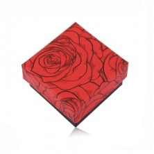 Ajándékdobozka fekete-piros színben két gyűrűre vagy fülbevalóra - nyíló rózsa