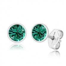925 ezüst fülbevaló - ragyogó smaragdzöld cirkónia fényes foglalatban