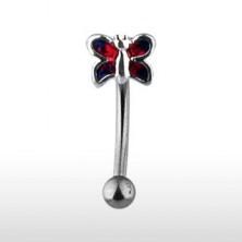 Szemöldök piercing - piros pillangó