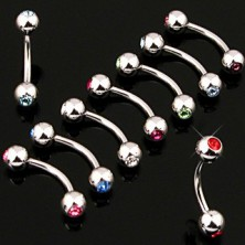 Golyós szemöldök piercing - két beágyazott cirkónia