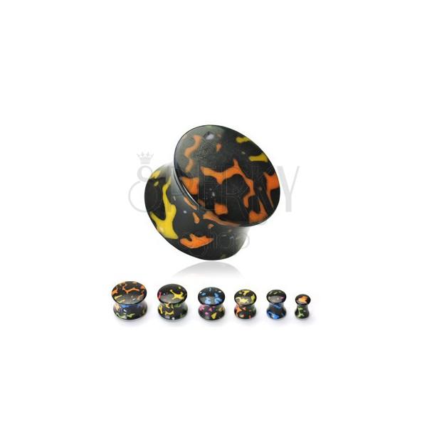 Akril fekete plug színes foltokkal