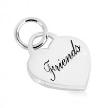 """925 ezüst medál - szívzár """"Friends"""" felirattal, tükörfényes felület"""