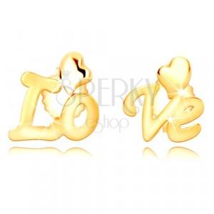 """9K sárga arany fülbevaló - szétválasztott felirat """"Love"""",szabálytalan szív"""