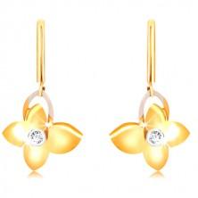 9K arany fülbevaló - pillangó cirkóniával, fehér arany szárny kontúr