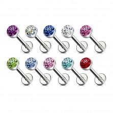 316L acél áll és ajak piercing - különböző színű cirkónia foglalatban, átlátszó fénymáz