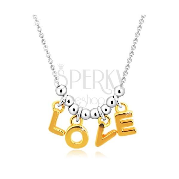 """925 ezüst nyaklánc - lánc, """"L-O-V-E"""" betűk arany színárnyalatban és golyók"""