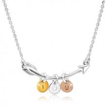 """925 ezüst nyaklánc - hajlított nyíl, háromszínű karikák """"I HEART YOU"""""""