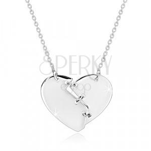 Nyaklánc 925 ezüstből - három öltéssel összevarrt törött szív, fényes felület
