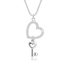 925 ezüst nyaklánc - katonai lánc, szív körvonala cirkóniákkal, szíves kulcs