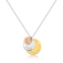 """925 ezüst nyaklánc - háromszínű karikák """"ME YOU FOREVER"""", csillogó lánc"""