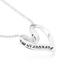 """925 ezüst nyaklánc - szív alakba hajlított szalag, """"Forever in my heart"""""""