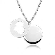 925 ezüst nyaklánc - fényes kör, matt kör szív alakú kivágással
