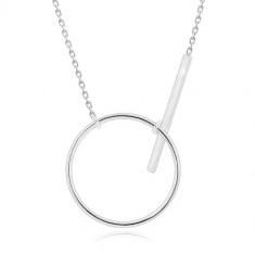 925 ezüst nyaklánc - csillogó lánc, fényes kör kontúr és pálca