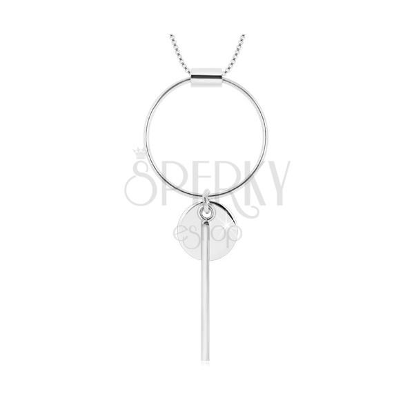 925 ezüst nyaklánc - szögletes lánc, kör kontúr, kisebb kör és pálca