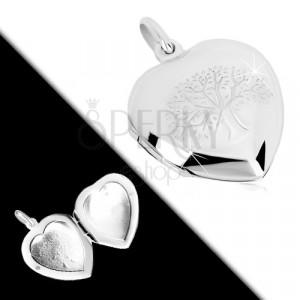 925 ezüst medallion - finoman gravírozott szimmetrikus szív, életfa