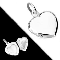 925 ezüst medál - lapos medallion, fényes felületű szimmetrikus szív