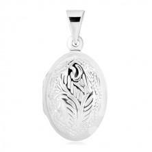 925 ezüst medál - medallion, kétoldalú természeti motívummal díszített ovális