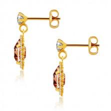 375 sárga arany fülbevaló - átlátszó cirkónia, méz-narancssárga könnycsepp, csillogó szegély