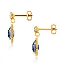 9K sárga arany fülbevaló - átlátszó cirkónia, sötétkék csepp, csillogó szegély