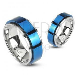 Nemesacél gyűrű - forgatható kék sáv