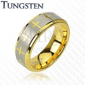Tungsten gyűrű - kereszt motívum