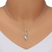 925 ezüst nyaklánc - nyolcas alak, hullámok gyönggyel
