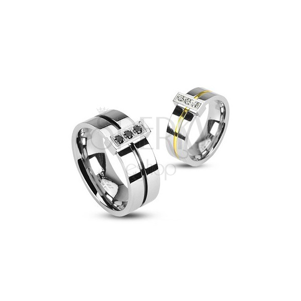 Gyűrű sebészeti acélból - három cirkónia