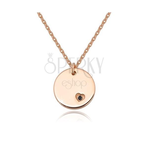 925 ezüst nyaklánc - kerek lapos medál, fekete gyémánt szívecskében