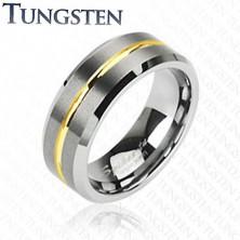 Volfrám gyűrű arany színű sávval, 8 mm