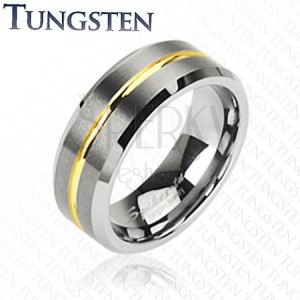 Tungsten gyűrű arany színű sávval