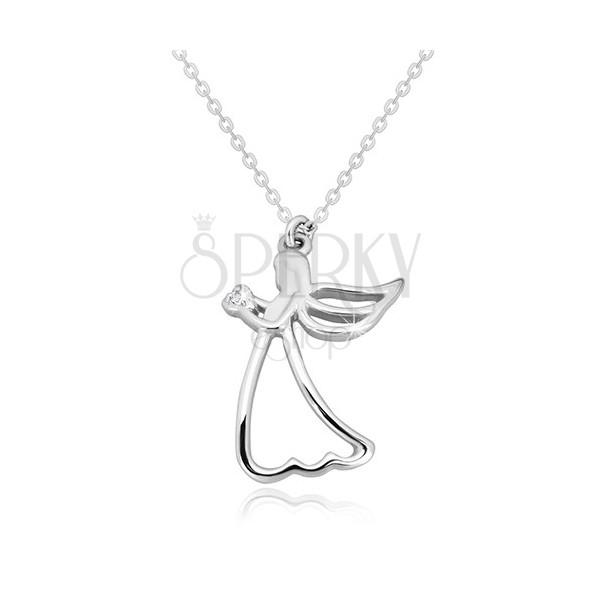 925 ezüst nyaklánc - faragott angyal szívvel, tiszta gyémánt