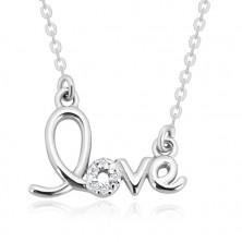 """925 ezüst nyaklánc - díszes """"love"""" felirat, csillogó briliánsok"""