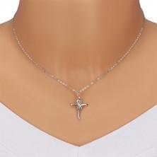 925 ezüst nyaklánc - fényes kereszt végtelen szimbólummal, átlátszó gyémántok