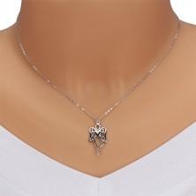 925 ezüst nyaklánc -  faragott angyal, szív átlátszó gyémánttal