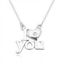 """Briliáns 925 ezüst nyaklánc - """"I love you"""",ovális szemű lánc"""