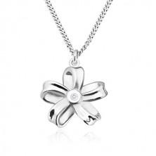 925 ezüst nyaklánc - fényes szalag, öt szirmú virág gyémánttal