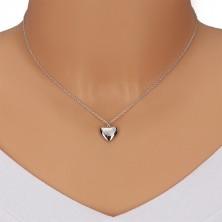 925 ezüst nyaklánc -  tükörfényes szívecske csillaggal és gyémánttal